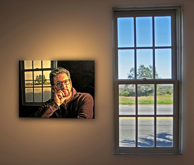 Self portrait in Sea Island Center gallery for USCB Film & Digital Media Exhibition, 2018.