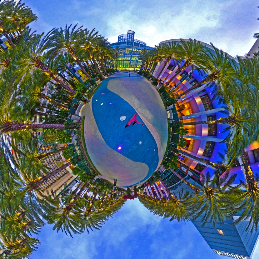 """I'll Go Walking, After Sunset"" Anaheim Convention Center 360 tiny world digital composite by Topher Maraffi, 2018."