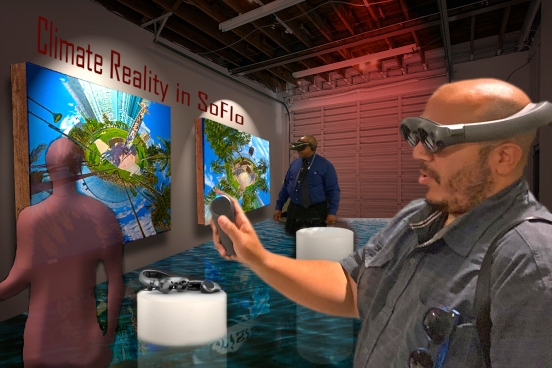 Visualization of gallery with Magic Leap headset for Climate Reality South Florida AR project (figure models Brandon Martinez and Willie Freeman), 2019.