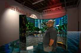 Visualization of gallery with 360 degree video of flooded South Florida locations for Climate Reality South Florida AR project (figure model Brandon Martinez), 2019.