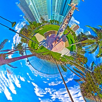 """Totem by the Bay"" Margaret Pace Park Miami 360 tiny world print by Topher Maraffi, 2019."