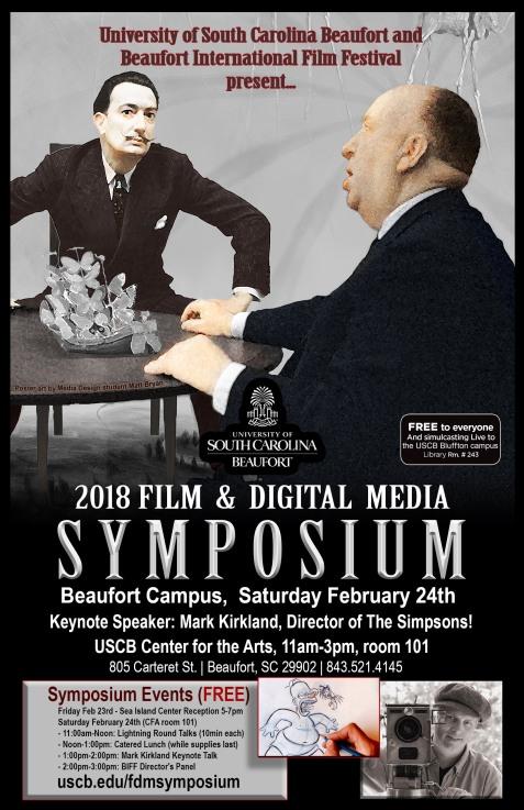 Poster for USCB Film & Digital Media Symposium '18, Spring 2018.