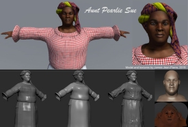 Mitchelville Project, Aunt Pearlie Sue Gullah Tour Guide, 3D Model by James Jean-Pierre, Fall 2019.