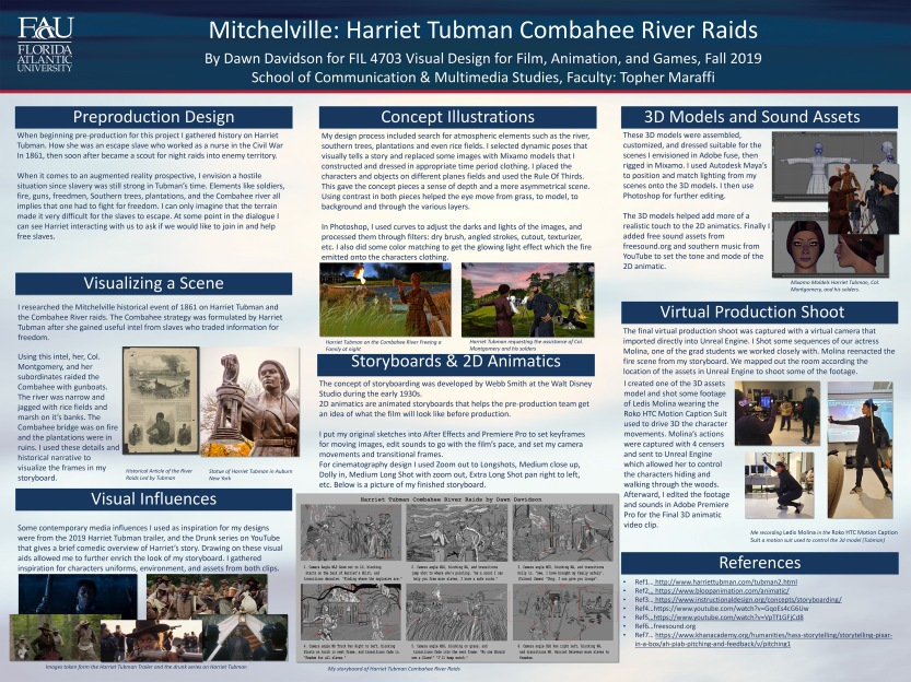 Mitchelville Project Harriet River Raids Undergrad Poster by Dawn Davidson, Fall 2019