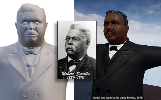 Mitchelville Project, Congressman Robert Smalls 3D Model by Ledis Molina, Fall 2019.